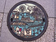 Otsu Shiga manhole cover (滋賀県大津市のマンホール)...from S Morita flickr collection in Japan. Love the fireworks! Most amazing manhole covers in Japan!