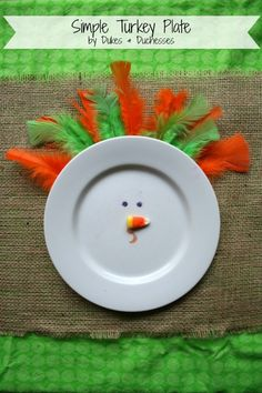 Cute turkey plate perfect for the kids table at Thanksgiving! @rdukes