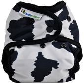 Best Bottoms diaper cover in Moo-licious.  Emma and Elizabeth's favorite diaper. An AI2 or hybrid system with snap in inserts.