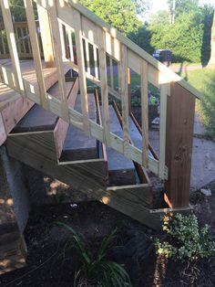 How to Cover Concrete Steps with Wood - Farmhouse on Boone how to wrap front porch concrete stairs with wood Front Porch Stairs, Concrete Front Porch, Concrete Stairs, Porch Steps, Wood Porch Railings, Deck Over Concrete, Front Porch Remodel, Porch Pillars, Deck Steps