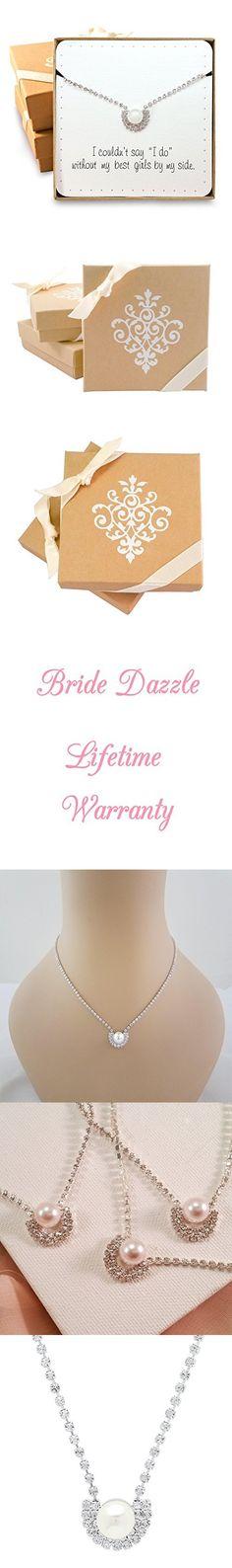 Bridesmaid Gifts - Elegant Single Pearl & Rhinestone Necklace, Set of 5