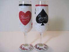 From Etsy - Poker Hand Painted Champaign Flutes