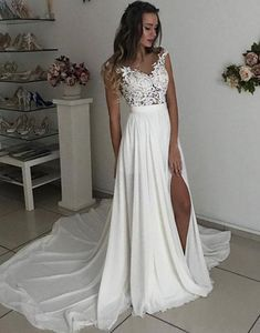 Wedding Dress Lace, Ivory Wedding Dress, Custom Wedding Dress, Cheap Wedding Dress, Wedding Dress Simple CheapWeddingDress IvoryWeddingDress WeddingDressSimple CustomWeddingDress WeddingDressLace is part of Slit wedding dress - Slit Wedding Dress, Wedding Dresses 2018, Custom Wedding Dress, Applique Wedding Dress, Long Bridesmaid Dresses, White Wedding Dresses, Cheap Wedding Dress, Simple Lace Wedding Dress, Wedding Dress Beach