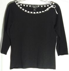 SILKS Black 75% Silk Top/Sweater - White Trim - Three Quarter Sleeves - Small #Silks #Knittop