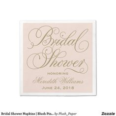 Bridal Shower Napkins | Blush Pink + Antique Gold