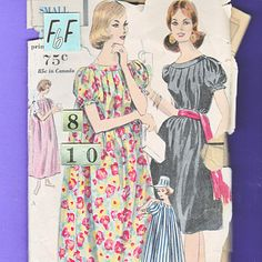 1960's Gathered Tent Dress Muu Muu Sewing Pattern/ Vogue