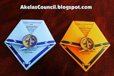Cub Scout Blue & Gold Invitation Ideas that are PRINTABLE and look like Cub Scout Neckerchiefs.  This site has a lot of great Cub Scout Ideas compliments of Akela's Council Cub Scout Leader Training