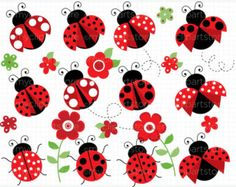 Clipart Ladybug Garden Red / Ladybird Digital by MyClipArtStore Clipart, Child Draw, Ladybug Garden, Pink Ladybug, Mothers Day Crafts For Kids, Flower Svg, Doodle Art, Pretty In Pink, Pink Flowers