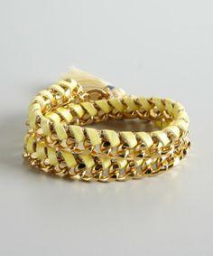 Ettika yellow leather and gold woven wrap tassel bracelet