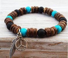 Boho Men Bracelets Turquoise Bracelet Coco Wood Bead by ByOliveFR