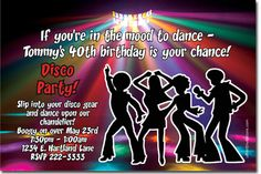 Pink Disco Theme 70s Party Custom Invitations from httpwww
