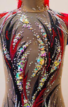 Rhythmic Gymnastic Leotard Black Red Rg Leotard To Order - Dance Leotards Gymnastics Costumes, Rhythmic Gymnastics Leotards, Dance Leotards, Acrobatic Gymnastics, Dance Outfits, Dance Dresses, Trajes Drag Queen, Red Video, Jazz Costumes