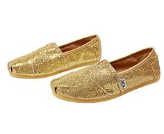 Gold Womens Glitters Shoes TOMS