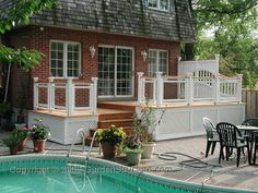 A classical styled deck with privacy trellis