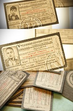 Retro ID biz cards, I like the typography, the embossing, the paper tear edges...