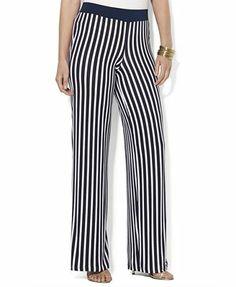 Lauren Ralph Lauren Plus Size Wide-Leg Striped Pants