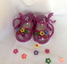 Crochet bebé sandalias algodón del ganchillo del bebé niña