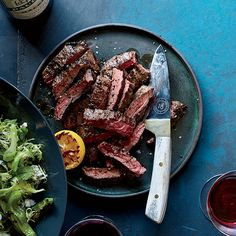 Learn to make this delicious grilled steak, with spicy peppers and a salad with smoky lemon dressing, at Food & Wine. Skirt Steak Recipes, Grilled Steak Recipes, Grilled Meat, Grilling Recipes, Steak Meals, Lemon Recipes, Wine Recipes, Beef Recipes, Cooking Recipes