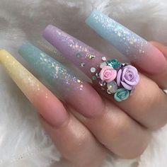 Matt Nails, Cute Nail Designs, Acrylic Nail Designs, 3d Nails, Glitter Nails, Gorgeous Nails, Pretty Nails, 3d Flower Nails, Glamour Nails