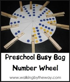 Number Wheel | Walking by the Way-printable color wheel, just have to put numbers on clothespins.  Free!