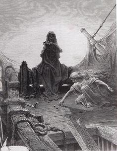 Gustave Doré - Illustration pour The Rime of the Ancient Mariner, de Coleridge: The Game is Done! I've won, I've won, 1876 - Gravure sur bois (fumé inédit) d'Adolphe-François Pannemaker