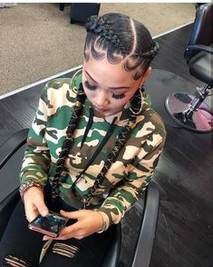 # two Braids with weave Box Braids Hairstyles, Curly Hair Braids, Baddie Hairstyles, Braids For Black Hair, Girl Hairstyles, Curly Hair Styles, Natural Hair Styles, Two Cornrow Braids, 2 Feed In Braids