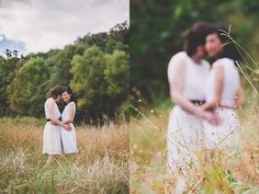 Two Beautiful Brides celebrating their marriage in the wildflowers at Seneca Lodge!  One Summer Day Photography.