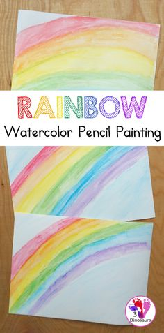 Rainbow Watercolor Pencil Painting - this is a great way to change up coloring and painting activities and watch how the pencil coloring mixes on the paper and makes a great watercolor painting - 3Dinosaurs.com #watercolorforkids #watercolorpencil #watercolorpainting #rainbows #3dinosaurs Kids Painting Activities, Spring Activities, Painting For Kids, Craft Activities, Art For Kids, Kids Watercolor, Watercolor Pencils, Watercolor Painting, Rainbow Magic