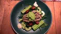 Tuna with fried and pickled cucumbers and avocado mousse