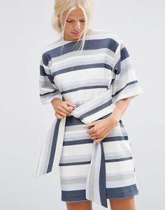 ASOS | ASOS Tie Front Shift Dress in Natural Fibre Stripe at ASOS