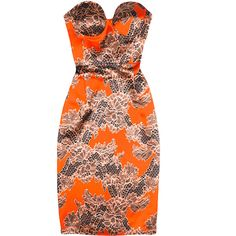 Jonathan Saunders Adie Lace Print Bustier Dress (2,005 CAD) ❤ liked on Polyvore featuring dresses, straight dress, slimming dresses, fitted lace dress, bustier dress and slimming cocktail dresses