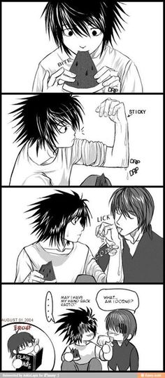 Death Note Shounen Ai L X Light Licking... but ow cool would it be if there was a slash note?