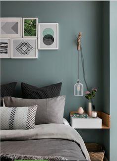 Idée couleurs chambre parents + lampes suspendues à une équerre