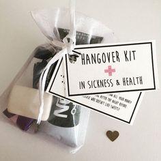 Gin Hangover Kit Joke Drinking Eyemask Ice Pack and Sick Bags