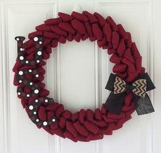 University of South Carolina burlap wreath w/ Chevron bow and polka dot USC letters - USC - Gamecocks
