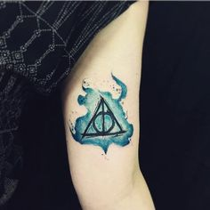 Pin for Later: Harry Potter Tattoos That Would Make J.K. Rowling Proud Watercolour Deathly Hallows