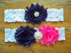 Navy and fuchsia garter by BloomsandBlessings