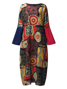 Ethnic Women Random Floral Print Batwing Sleeve Maxi Dresses - Banggood Mobile