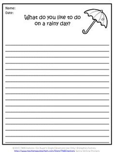 Spring Writing: Have a great spring with these fun Spring Writing Prompts!  In this product you will receive 18 different writing prompts. Each page contains a writing prompt, lined space for student response, and a black and white picture.   These writing prompts would be great for creative writing, journaling, writing practice, morning work, and early finishers!