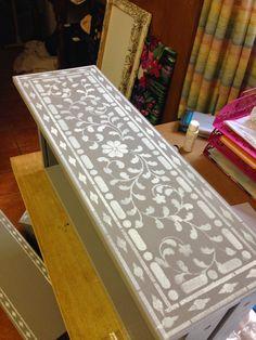 Stenciling an Ikea dresser using the Indian Inlay Stencil kit. http://www.cuttingedgestencils.com/indian-inlay-stencil-furniture.html