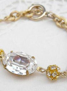 Glitter Glam Bracelet, Jewelry, rhinestones crystals gold Swarovski 14K gold #UsTrendy, #Spring #Style