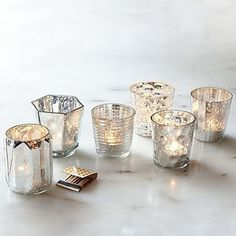 Mercury Votive Holders - eclectic - candles and candle holders - West Elm Mercury Glass Candle Holders, Votive Candle Holders, Votive Candles, Silver Candles, Hurricane Glass, West Elm, Eclectic Candles, Tea Light Holder, Centerpieces