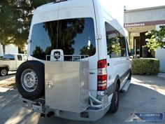 Aluminum Off Road Rear Bumper with Spare Tire Carrier and Storage Box for the Mercedes Sprinter Camping Places, Camping Glamping, Camping World, Benz Sprinter, Mercedes Sprinter, Colorado Springs Camping, Camping In Pennsylvania, Camping In North Carolina, Van Storage