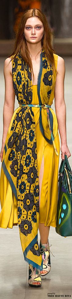 Burberry Prorsum F/W 2014 - London Fashion Week.  Love the bold color and print.  What a fun dress!