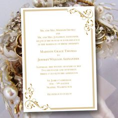 "Printable Wedding Invitation Template ""Elegance"" in Gold 