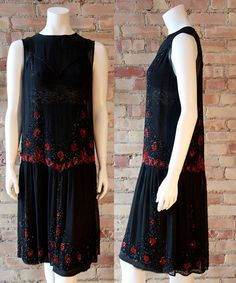 vintage red & black beaded dress