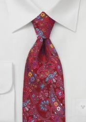 Krawatte XXL Blumen-Muster rot günstig kaufen