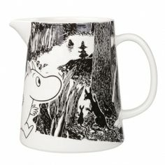 "Moomin Adventure Pitcher The great porcelain maker, Arabia, has once again added another piece to its already extravagant Moomin collection with this cute glossy-finished pitcher. A part of the new ""Moomin Adventure"" series, t. Marimekko, Moomin Mugs, Water Carafe, Inside A House, Tove Jansson, Black And White Background, Nordic Home, Finland, Original Artwork"