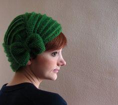 Hot Green Crochet Beret with Bow by KokoshKnitting on Etsy,