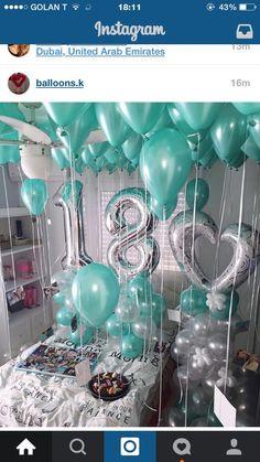 Teal & silver birthday decor